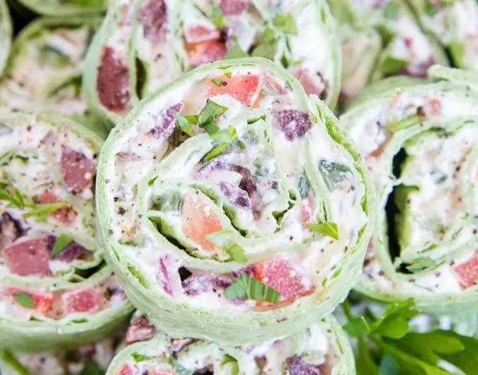Creamy Greek Salad Pinwheels