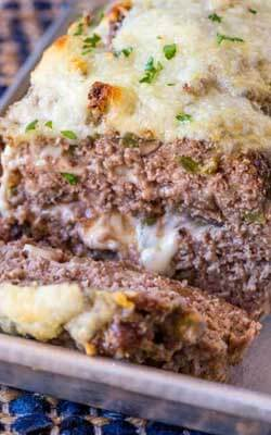 Philly Cheesteak Stuffed Meatloaf