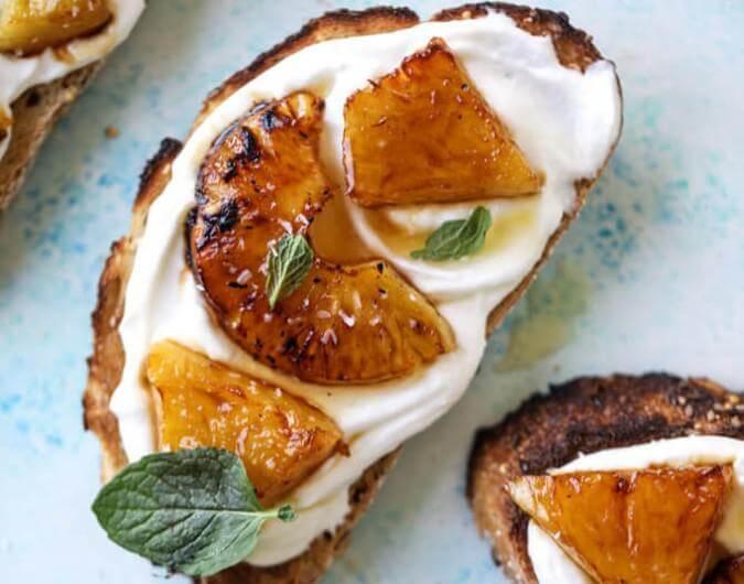 Roasted Pineapple Whipped Ricotta Toast