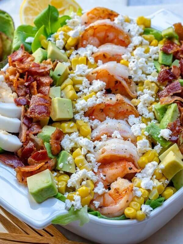 Shrimp Cobb Salad with Lemon-Chive Dressing