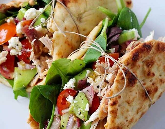 Chicken Hummus Naan Wraps